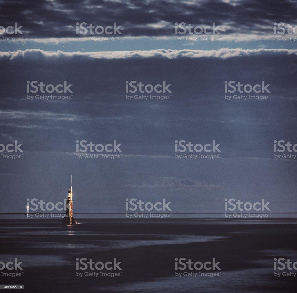 Submarine in Moonlight stock photo