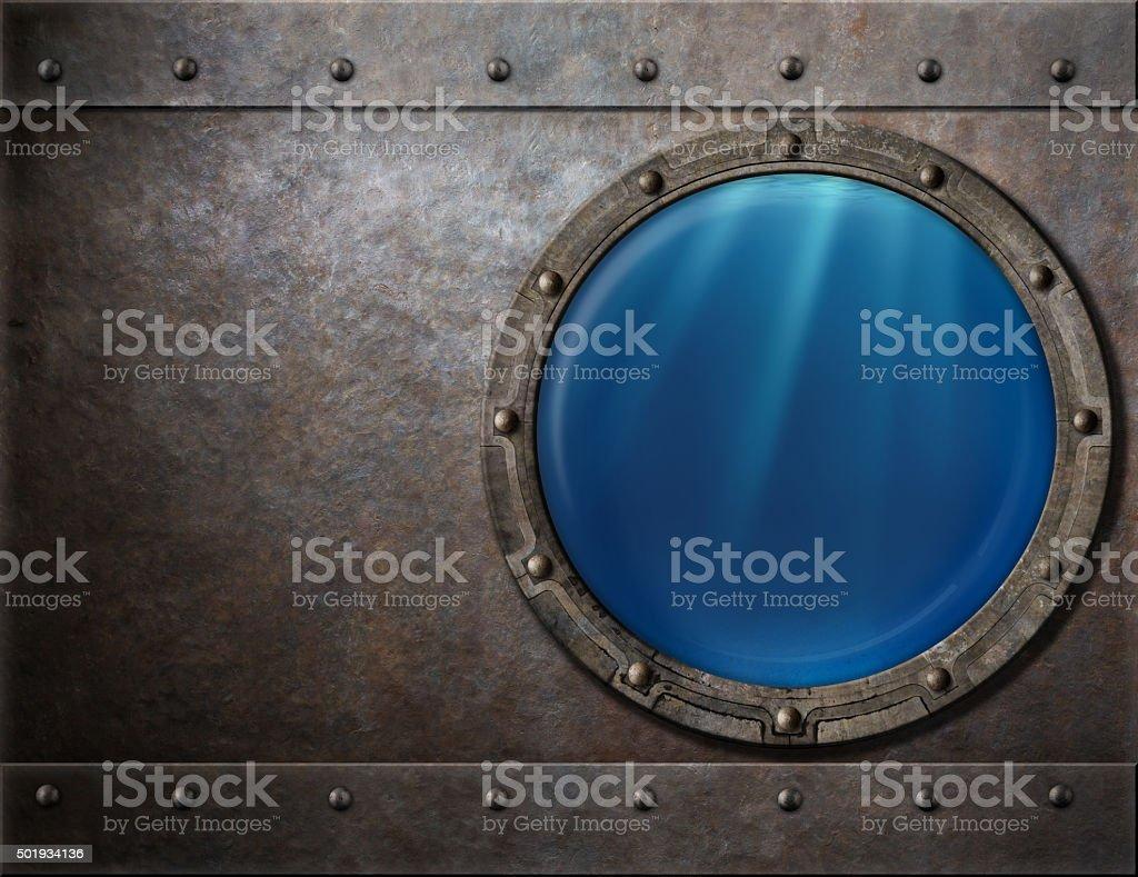 submarine or battleship porthole steam punk metal background stock photo