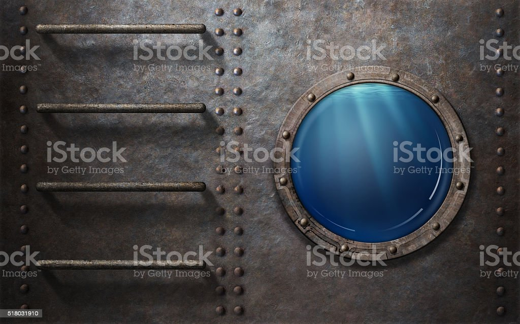submarine or ship porthole with underwater view stock photo