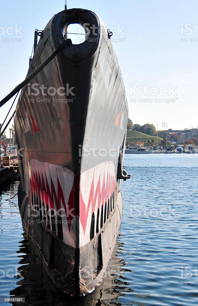 Submarine prow with painted shark teeth stock photo
