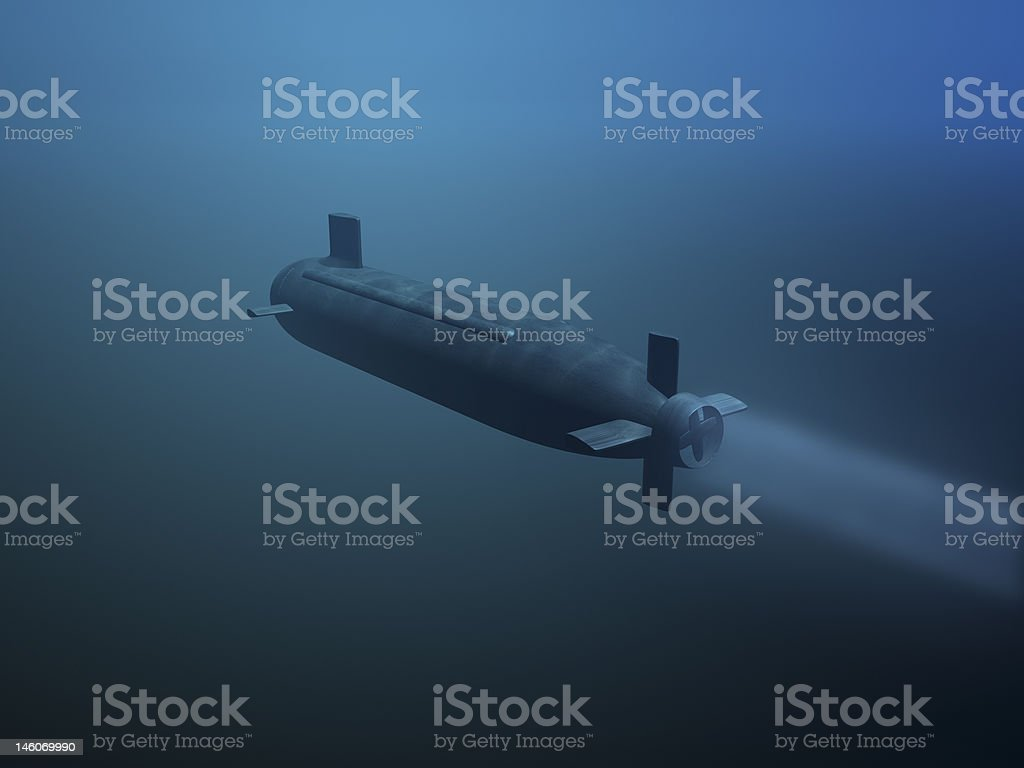 3D submarine rear view stock photo