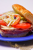 Submarine Sandwich with Ham and Vegetables