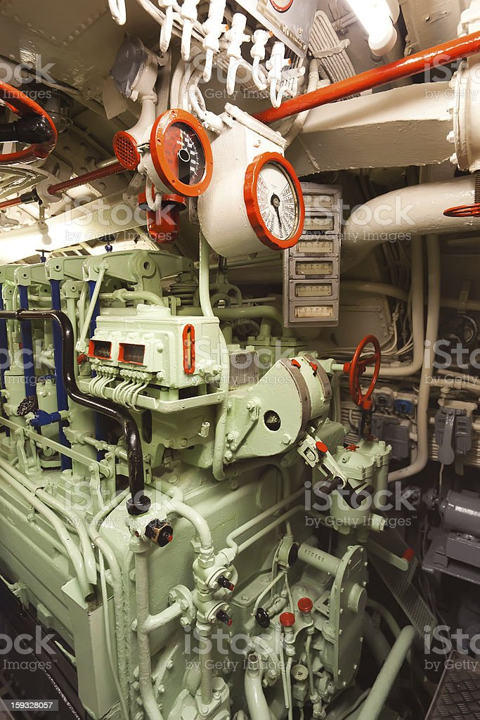 Submarine type VIIC/41 - diesel engine room stock photo