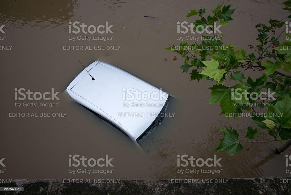 Submerged car stock photo