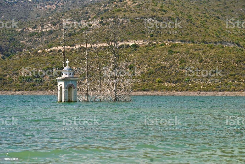 submerged church stock photo