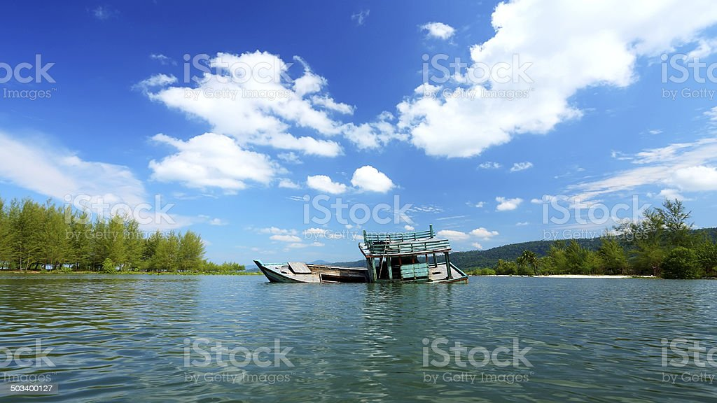 Submerged Fishing Vessel royalty-free stock photo