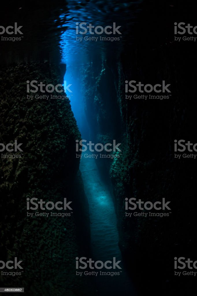 Submerged Grotto and Blue Light stock photo