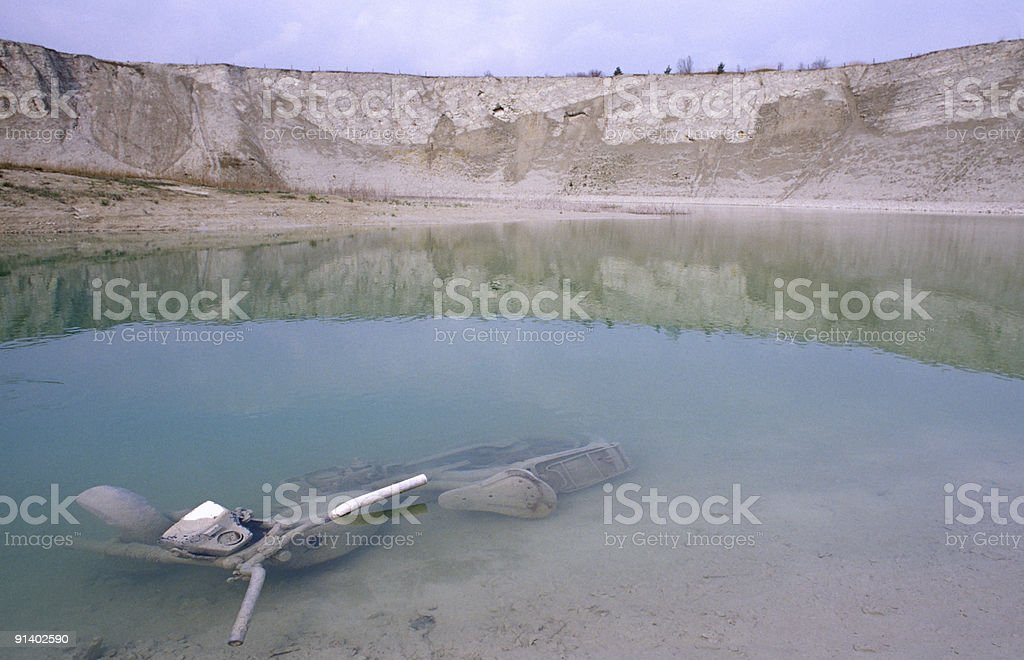 submerged motorbike stock photo