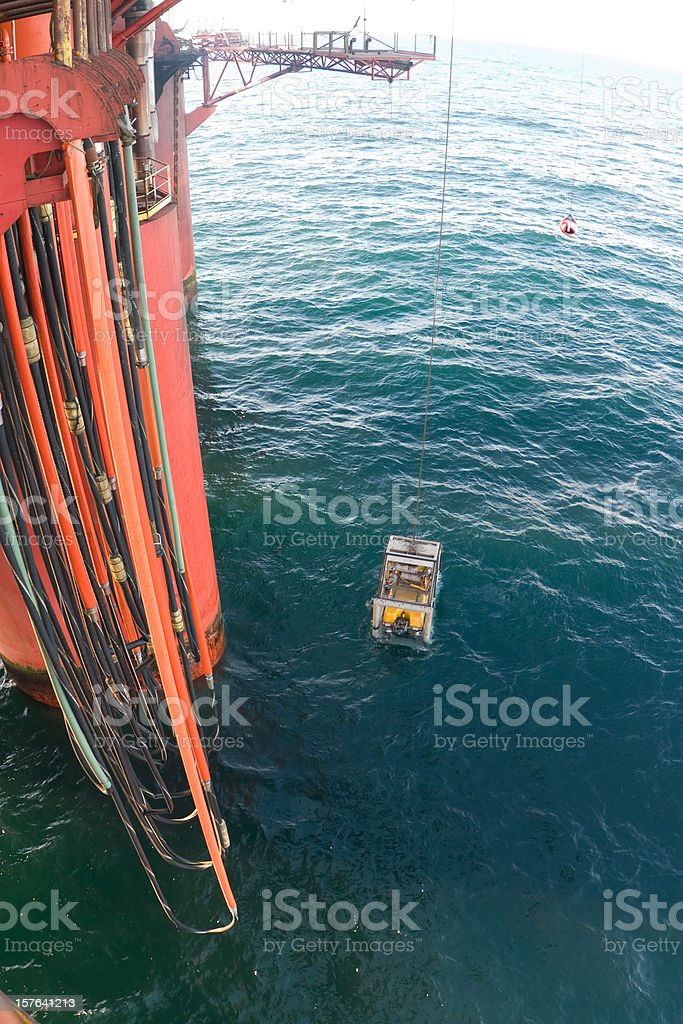 ROV submersible on oil rig royalty-free stock photo