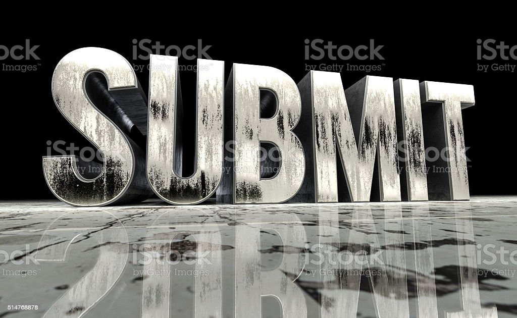 Submit word in metal type stock photo