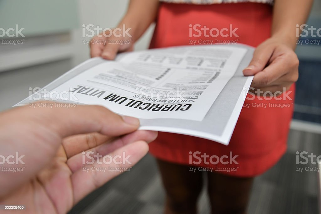 Submitted curriculum vitae to interview stock photo
