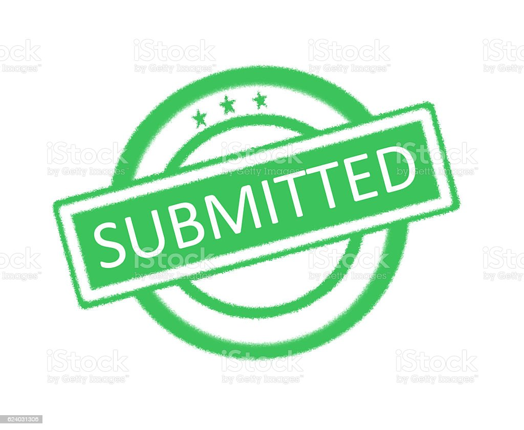Submitted written on green rubber stamp stock photo