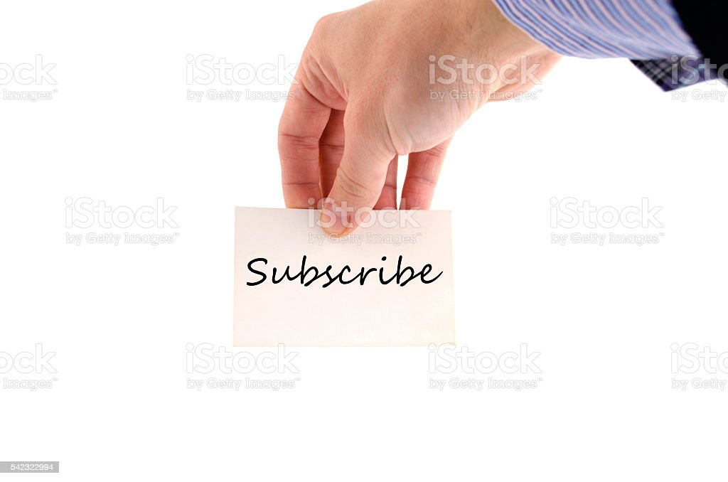 Subscribe text concept stock photo