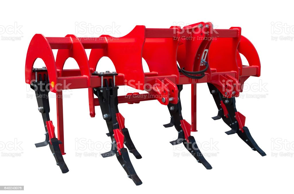 Subsoiler or flat lifter is a tractor mounted farm implement. stock photo