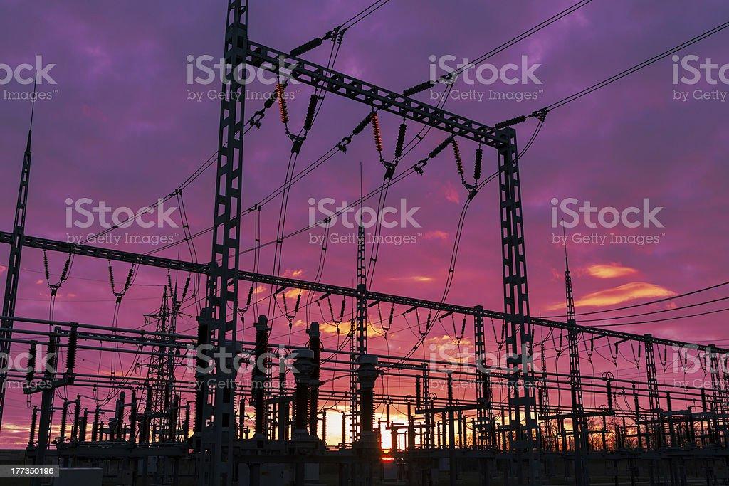 Substation  on the dramatic sky background stock photo