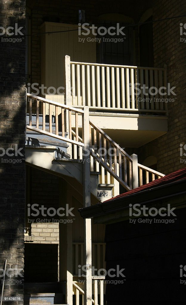 Subtle light on an Alley Stairway stock photo
