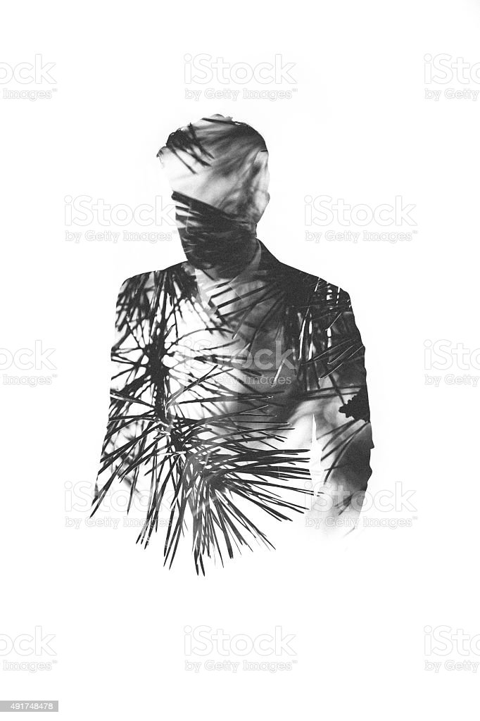 Subtle male form filled with pine needles in double exposure stock photo