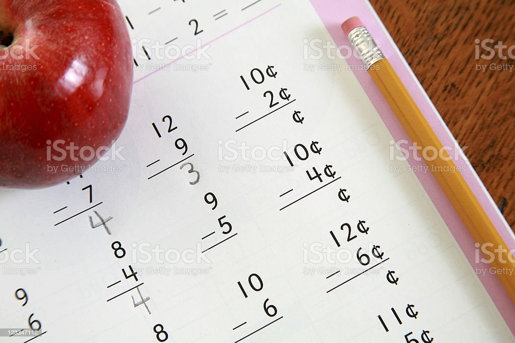 Subtraction problems stock photo