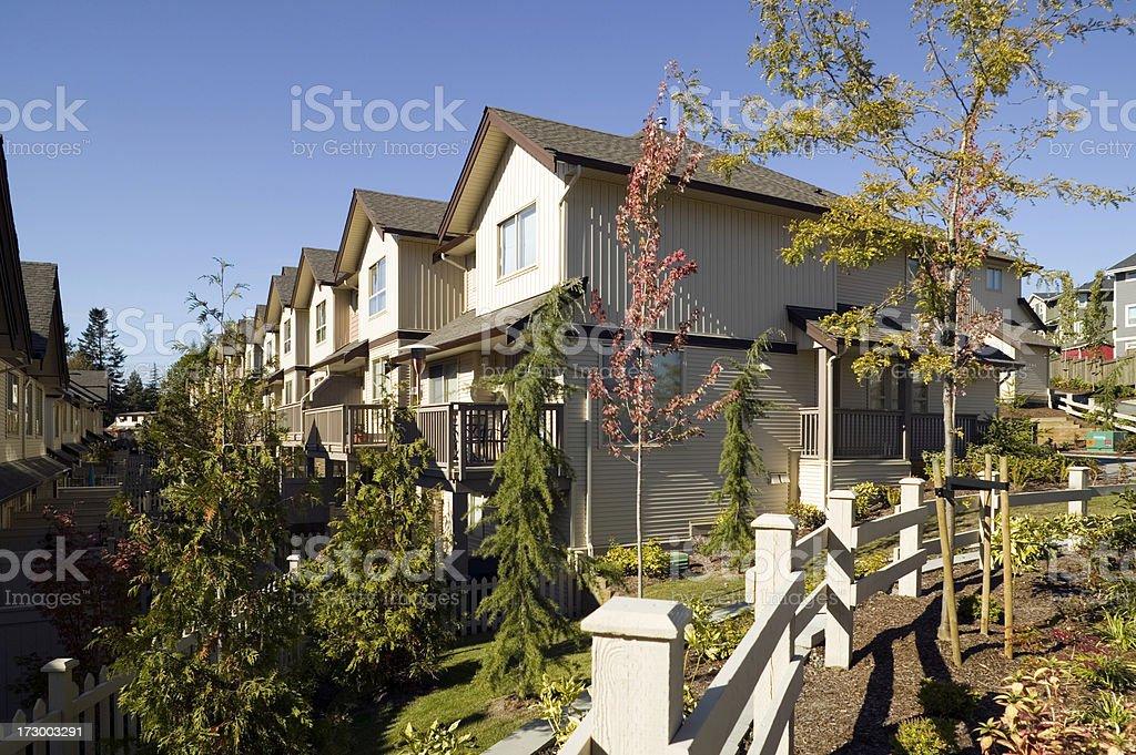 suburb neighborhood townhouse stock photo