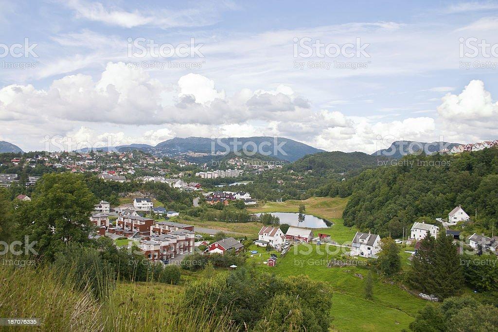 Suburb of Bergen in Norway stock photo