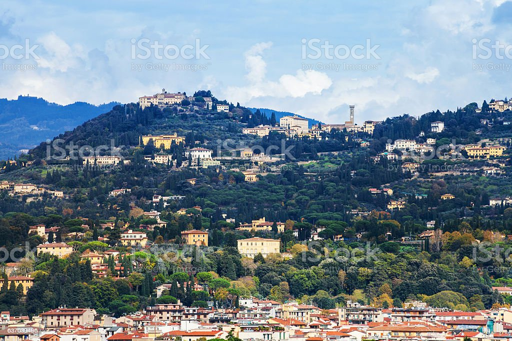 suburb of Florence city on green hill stock photo