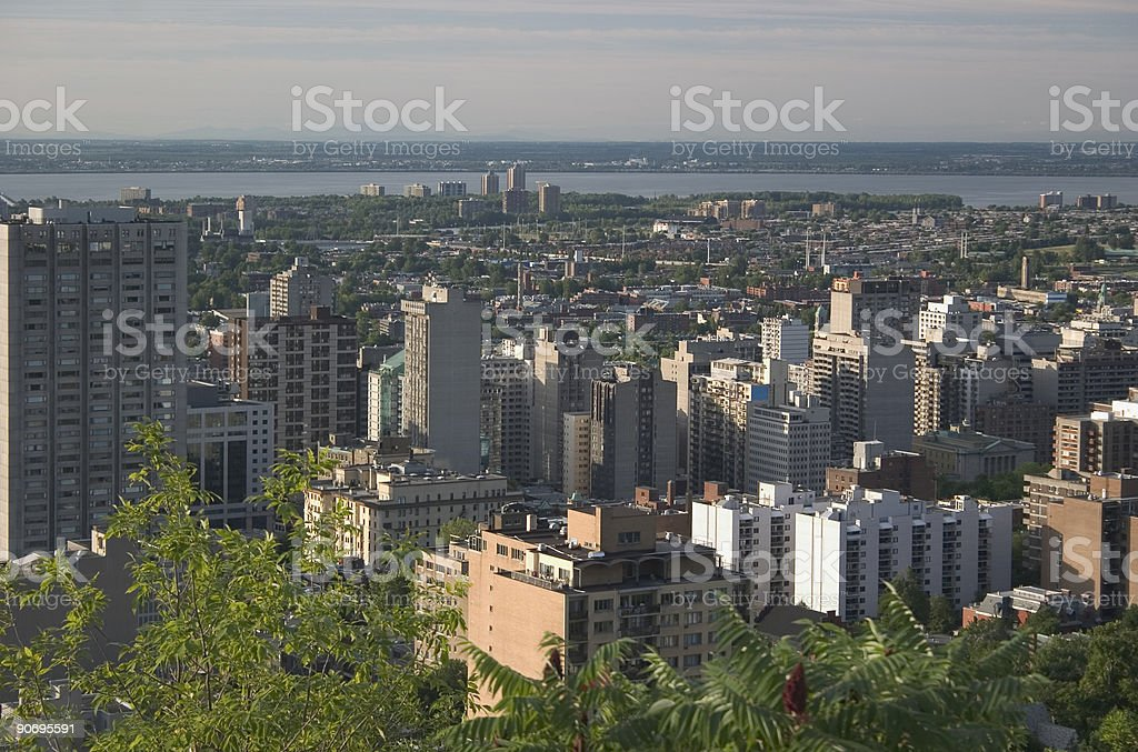 Suburb of Montreal at sunrise or sunset royalty-free stock photo