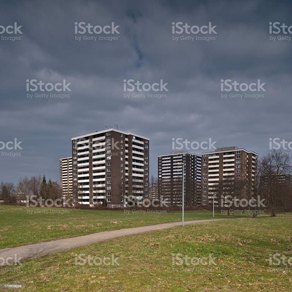Suburb with moody sky stock photo