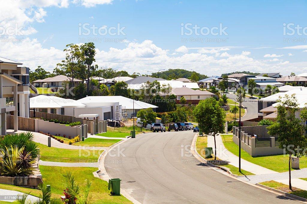 Suburban australian street stock photo