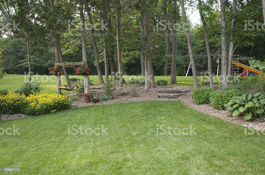 Suburban backyard in America royalty-free stock photo