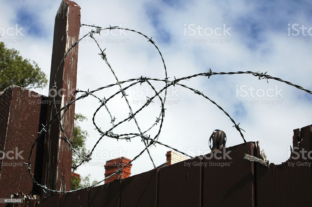 suburban barbed wire royalty-free stock photo