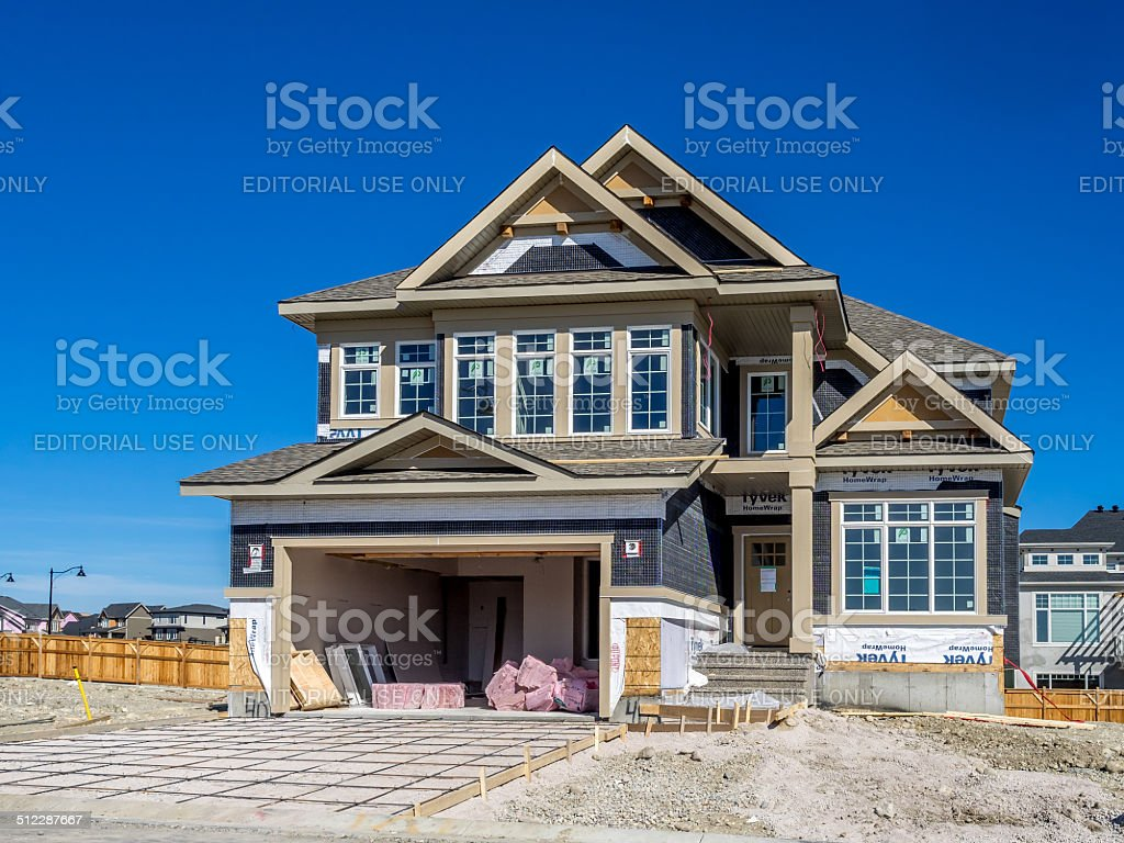 Suburban estate home under construction stock photo