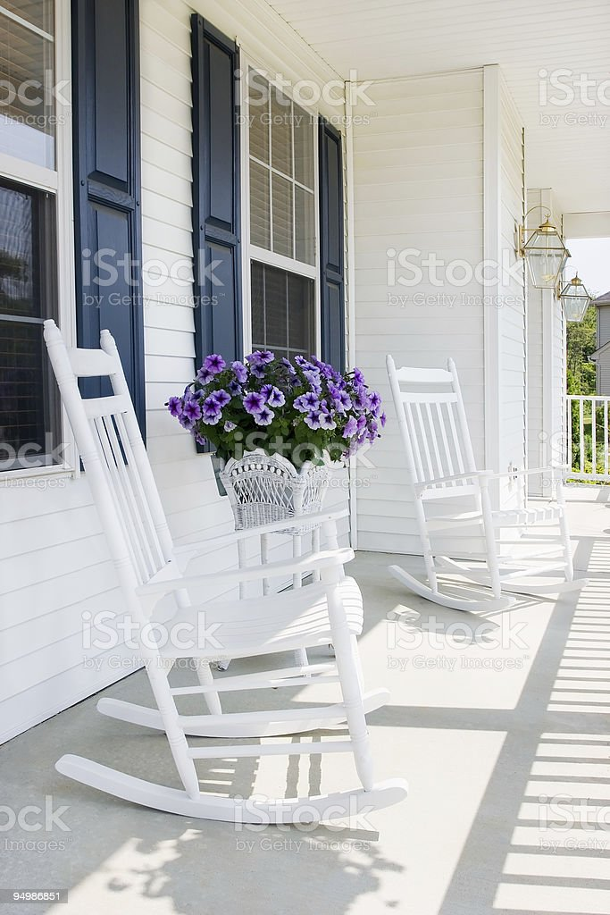 Suburban front porch stock photo