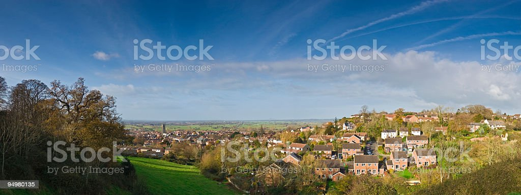 Suburban homes, big sky stock photo