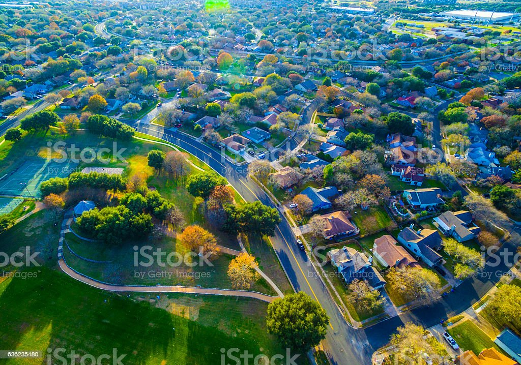 Suburban Homes Modern living Hiking trail Park stock photo