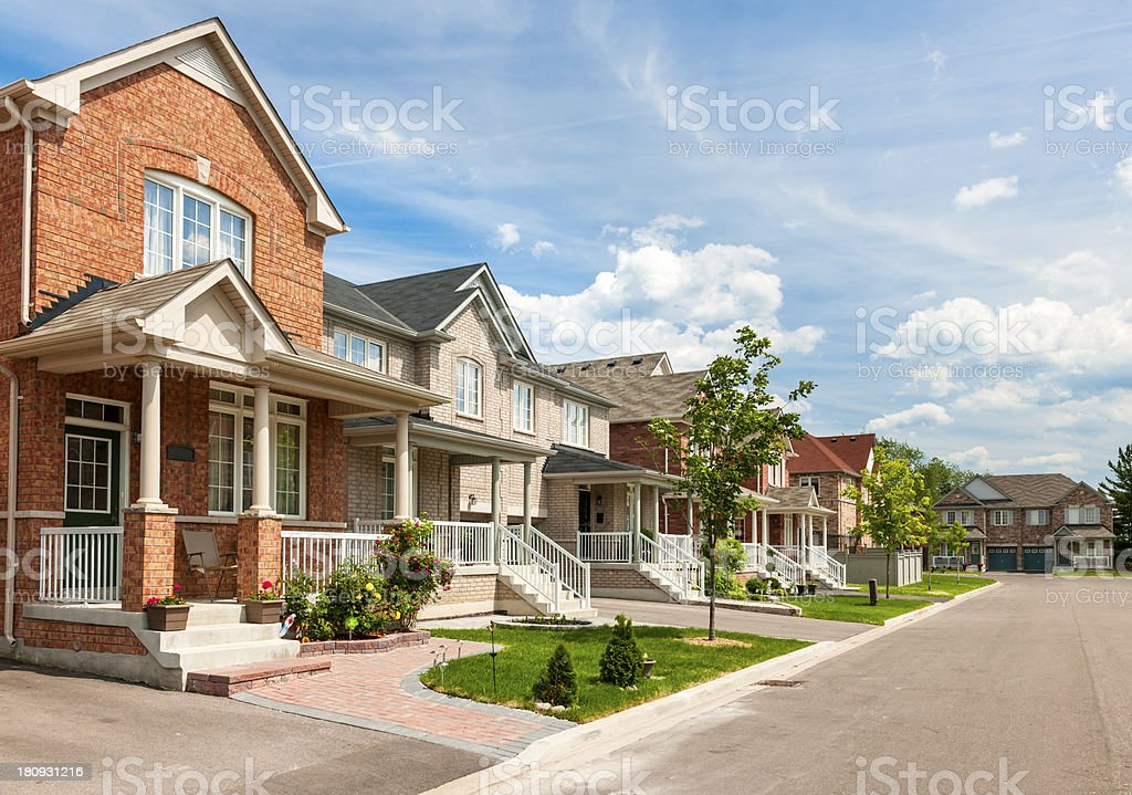 Suburban homes stock photo