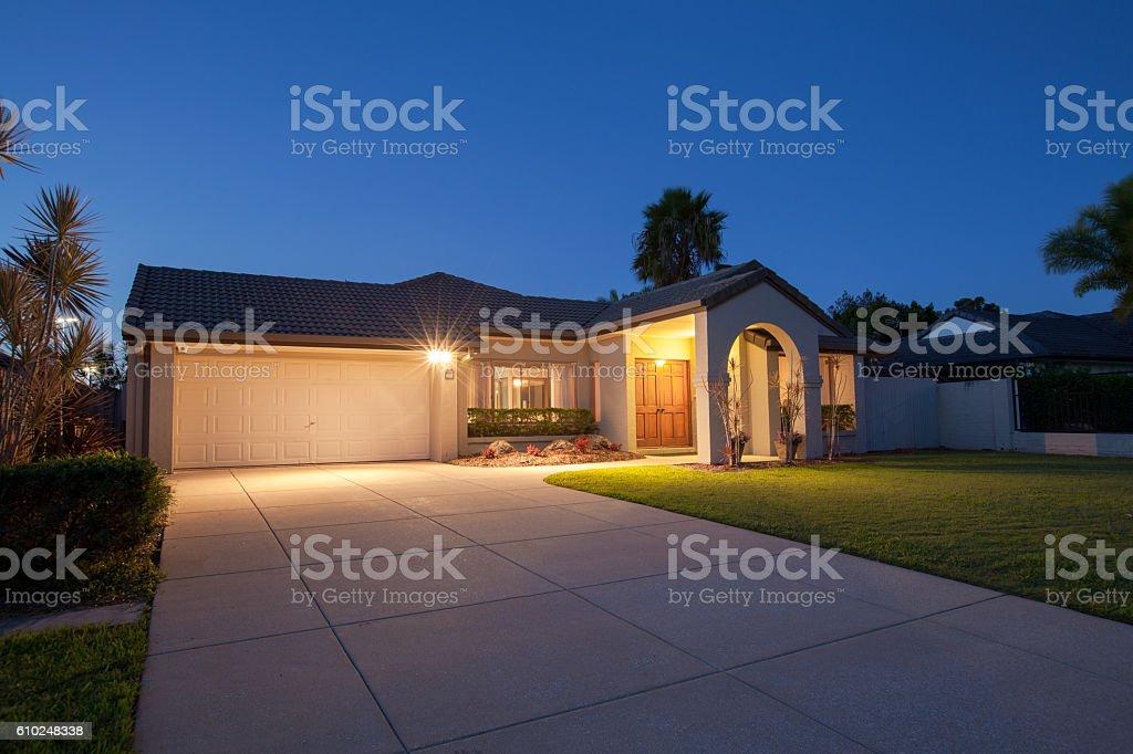 Suburban house front stock photo
