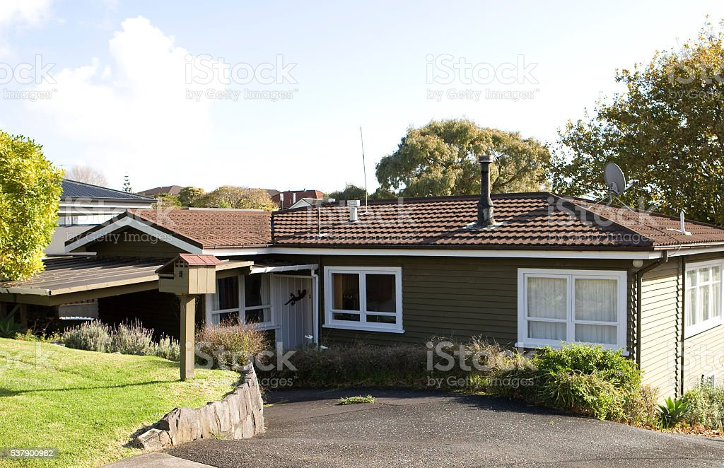 Suburban house New Zealand stock photo