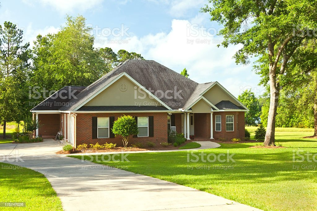 Suburban house with a big yard stock photo