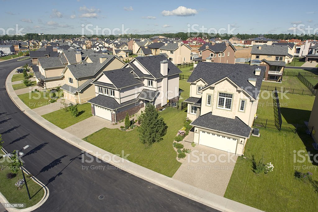 Suburban houses. High angle view. stock photo