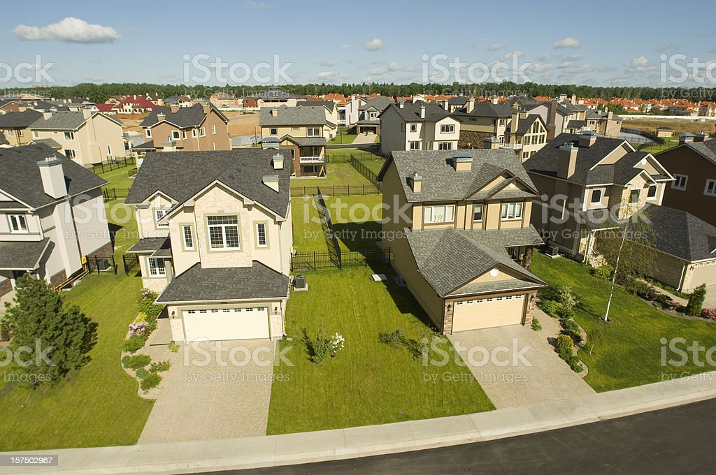 Suburban houses. High angle view. stock photo