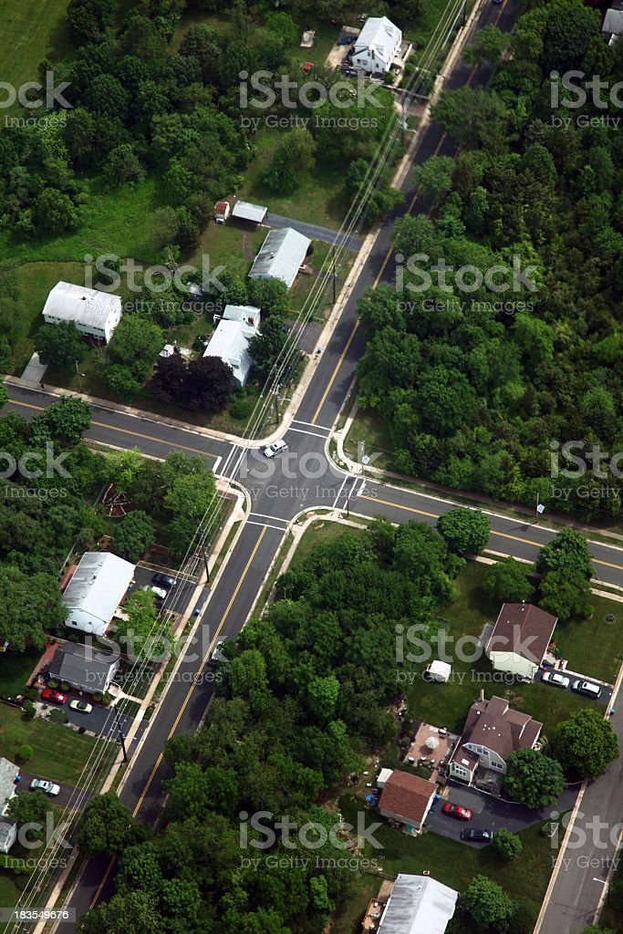 Suburban Intersection Aerial royalty-free stock photo