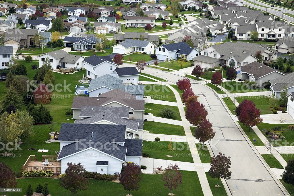 Suburban life - aerial photo royalty-free stock photo