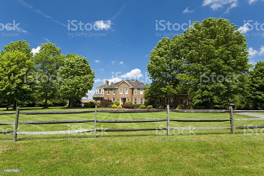 Suburban Maryland Single Family Georgian House Home Lawn Fence Trees stock photo
