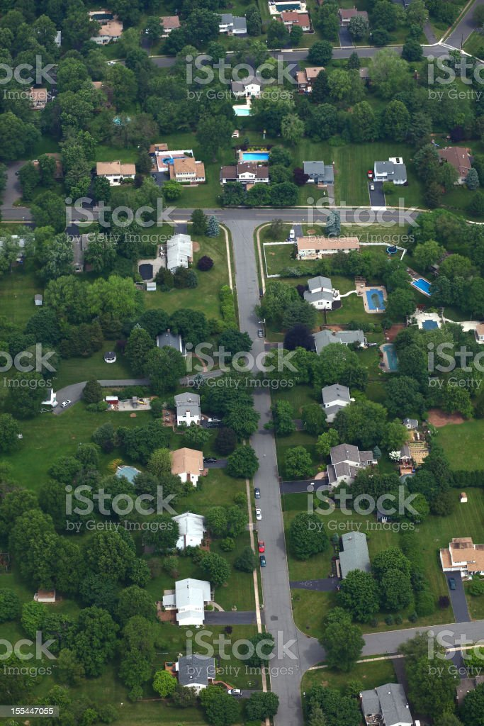 Suburban Neighborhood Aerial royalty-free stock photo