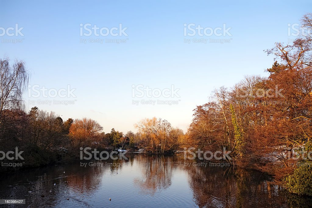 Suburban park lake in winter, late afternoon royalty-free stock photo