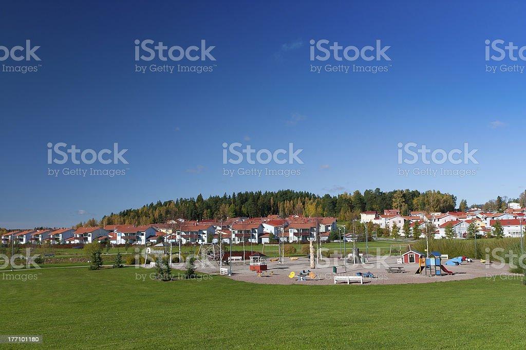 Suburban playground in autumn stock photo