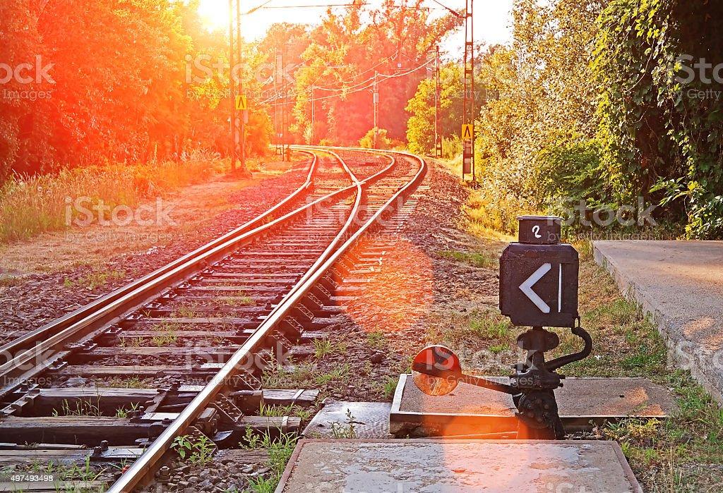 Suburban railroad switch stock photo