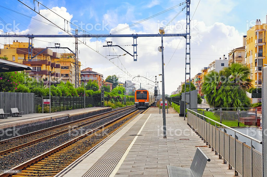 Suburban railway train at the railways stantion . stock photo