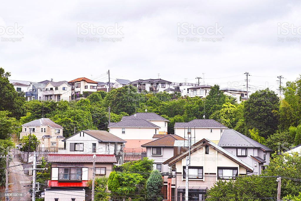 Suburban residential area of the landscape of Japan stock photo