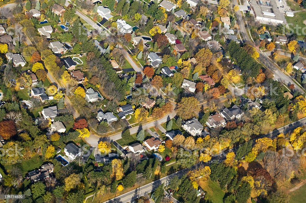 Suburban Residential Neighborhood, Aerial View royalty-free stock photo